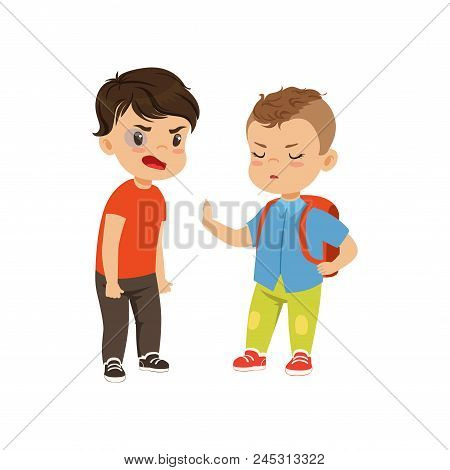 Brave Litlle Schoolboy With Backpack Trying To Stop The Bully Who Is Quarreling Vector Illustration
