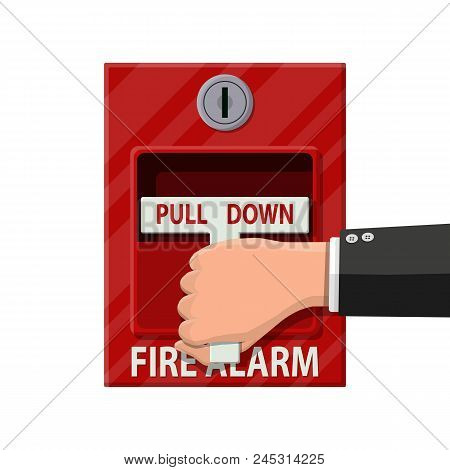 Hand Switch Fire Alarm System. Fire Equipment. Vector Illustration In Flat Style