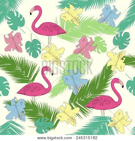 Tropical Summer Seamless Pattern With Exotic Flowers, Palm Leaves And Pink Flamingo Birds. Fashionab