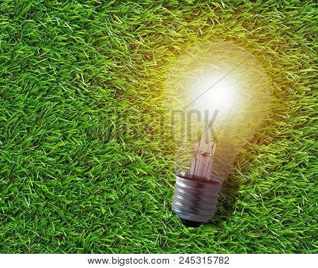 Business Solution, Solving Problem, Strategy And Planning Concept, Light Bulb On Green Grass Backgro