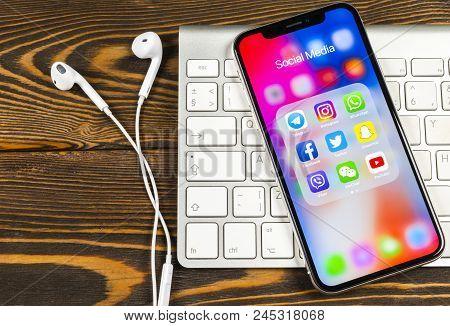 Sankt-petersburg, Russia, June 2, 2018: Apple Iphone X With Icons Of Social Media Facebook, Instagra
