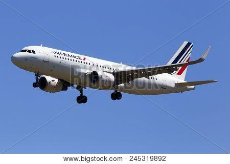 Borispol, Ukraine - May 26, 2018: F-hepg Air France Airbus A320-214(wl) Aircraft On The Blue Sky Bac
