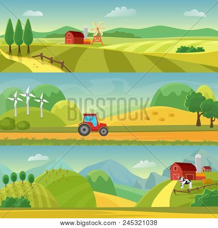 Rural Landscape With Fields And Hills And With A Farm. Agriculture And Agribusiness Farming. Rural L