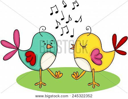 Scalable Vectorial Representing A Cute Couple Of Birds Singing And Dancing, Element For Design, Illu