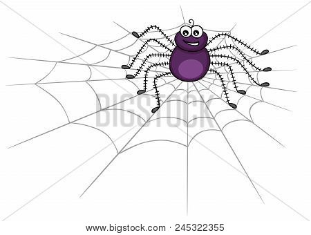 Scalable Vectorial Image Representing Accute Spider On Web, Isolated On White.