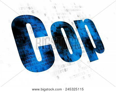 Law Concept: Pixelated Blue Text Cop On Digital Background