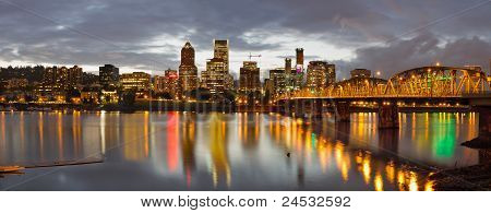 Portland Downtown Skyline At Sunset