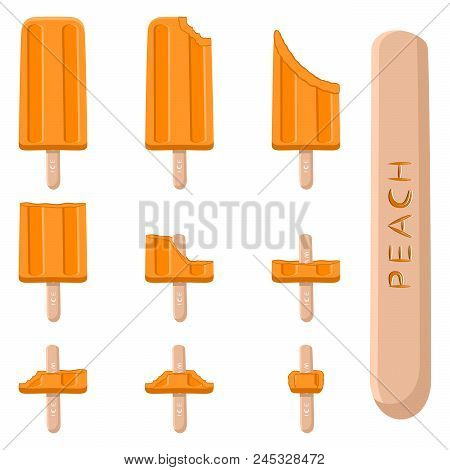 Vector Illustration Logo For Natural Peach Ice Cream On Stick. Ice Cream Pattern Consisting Of Sweet