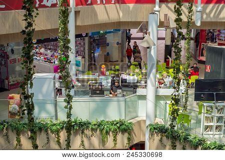 Malaga, Spain - May 26, 2018. Interior View Of The Shopping Mall Malaga Plaza From Malaga City, Cost