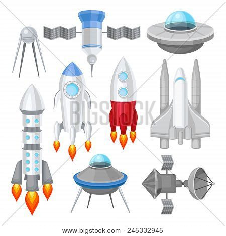 Set Of Various Spacecrafts. Rockets With Engine Fire, Large Space Shuttle, Alien Flying Saucers And