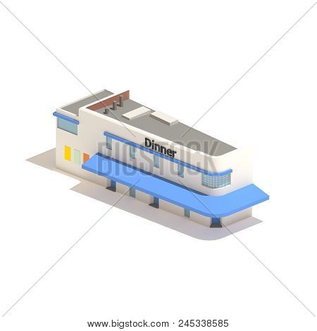 Flat 3d Model Isometric Restaurant Diner Isolated On White Background