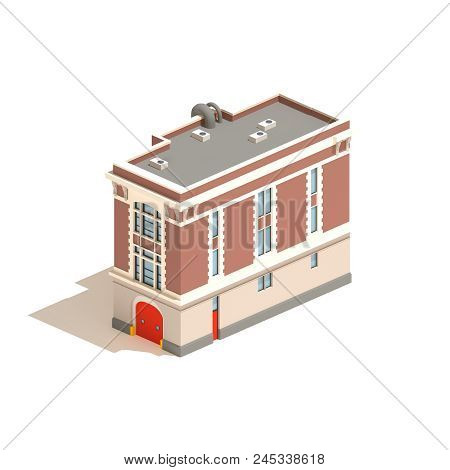 Flat 3d Model Isometric Fire Station Isolated On White Background