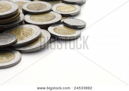Mexican Peso Coins With White Copy Space