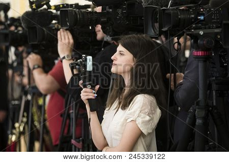 Kiev, Ukraine - May 29, 2018: Journalists Of Various Media During The Meeting Of Ukrainian President