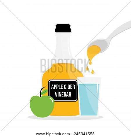 Vector Cartoon Illustration, Concept Of Drinking Apple Cider Vinegar For Detox. Pouring A Spoon Of A