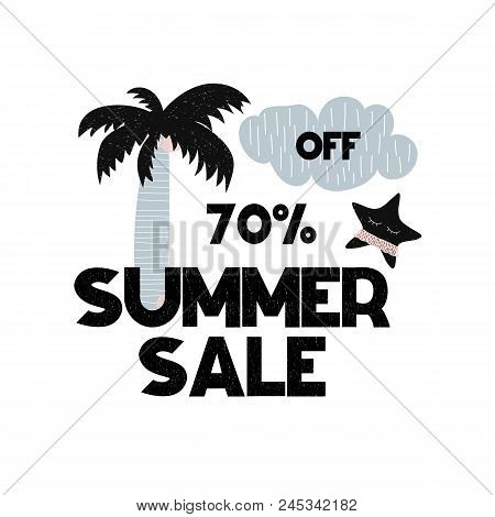 Advert Card With Lettering 70 Off Summer Sale In Scandinavian Style. Vector Illustration With Palm A