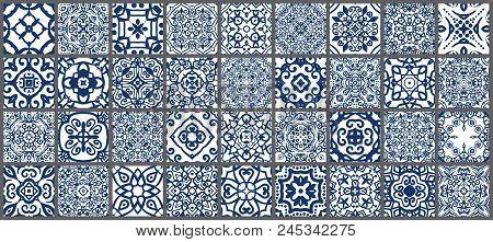 Vector Tiles Patterns. Seamless Flourish Backgrounds With Blue Flower Elements. Arabic Decorative De