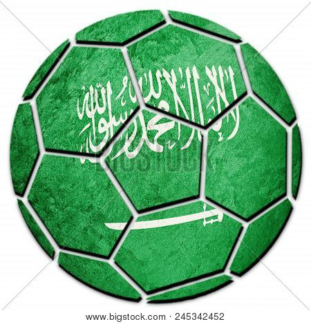Soccer Ball National Saudi Arabia Flag. Saudi Arabia Football Ball.