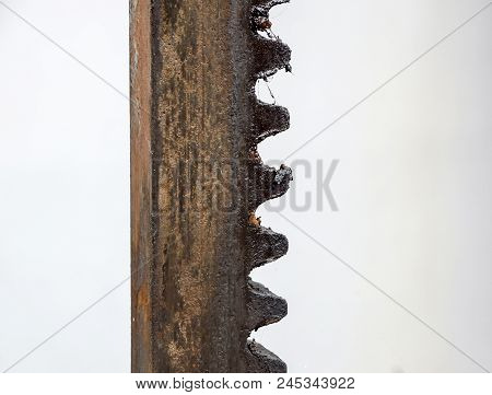 Gear Connection For Motion Transmission. Metal Cog Tooth Wheel And Rack .