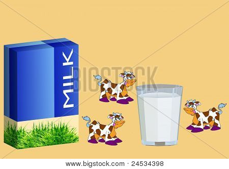 Three cows a glass with milk and a package poster