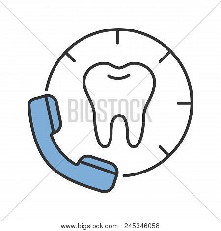 Making Appointment With Dentist Color Icon. Calling To Dental Clinic. Isolated Vector Illustration