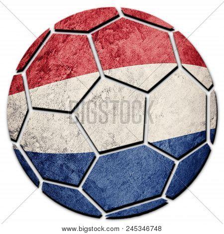 Soccer Ball National Nederland Flag. Nederlands Flag With Grunge Texture.