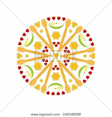 Rosh Hashanah, Jewish New Year, Rosette With Traditional Holiday Symbolic, Apple Slices And Pomegran