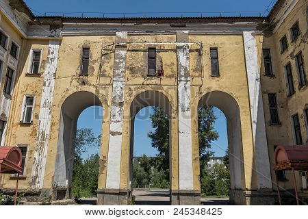 Old Abandoned Hospital. Medical Complex. Old Architecture. Architectural Heritage. Main Entrance. Gr