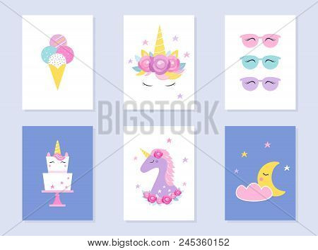 Kids Slumber And Summer Party Invites. Unicorns And Moon. Vector Design.