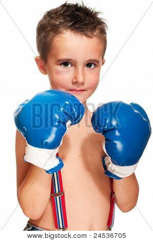 Little Bully Boy With Black Eye In Boxing Gloves Wet