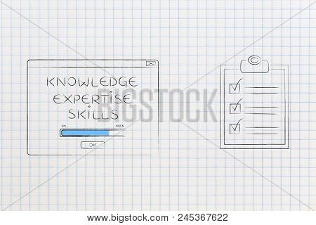 Be The Best At Work Conceptual Illustration: Knowledge Expertise Skills Loading Pop-up Message Next