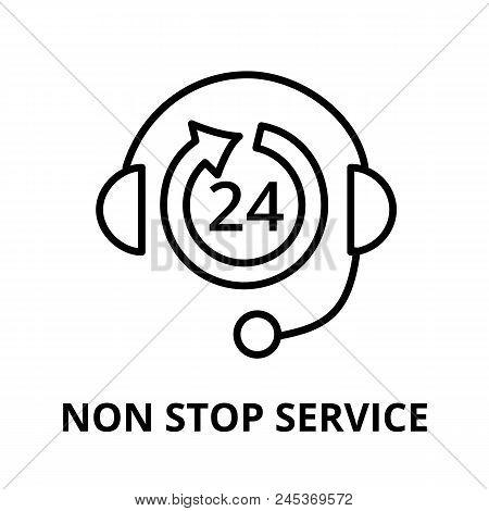 Modern Editable Line Vector Illustration, Non Stop Service Icon, For Graphic And Web Design