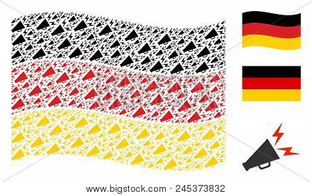 Waving Germany State Flag. Vector Alert Megaphone Icons Are Grouped Into Geometric German Flag Illus
