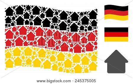 Waving Germany Flag. Vector Cabin Pictograms Are United Into Conceptual Germany Flag Illustration. P