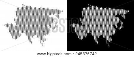 Halftone Round Dot Asia Map. Vector Territory Maps In Grey And White Colors On White And Black Backg