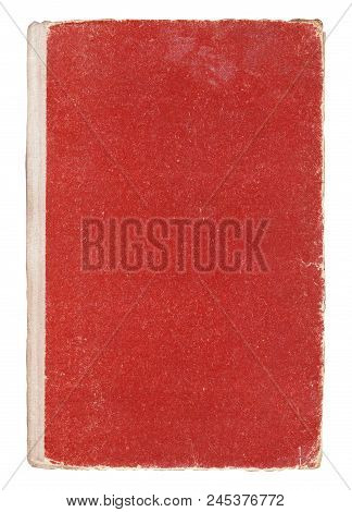Very Old Red Book Cover Isolated On White.
