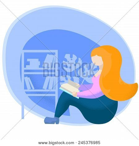 Girl Read Book Flat Vector Illustration. Reading Woman Character Reading Book. Reading Hobby For Rel