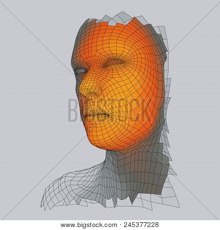 Head Of The Person From A 3d Grid. Human Head Wire Model. Face Scanning. View Of Human Head. 3d Geom
