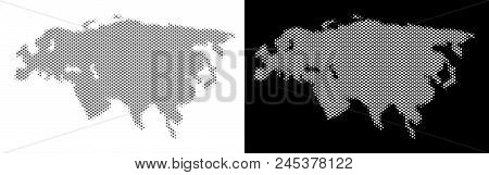 Halftone Circle Dot Eurasia Map. Vector Geographic Maps In Gray And White Colors On White And Black