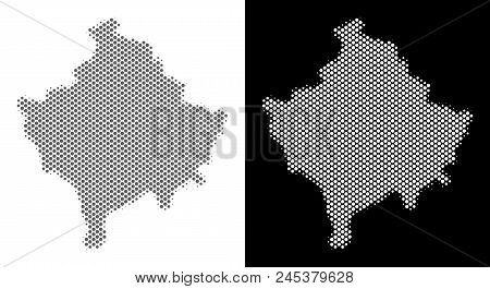 Halftone round blot Kosovo map. Vector territory maps in gray and white colors on white and black backgrounds. Abstract composition of Kosovo map combined of circle blots. poster