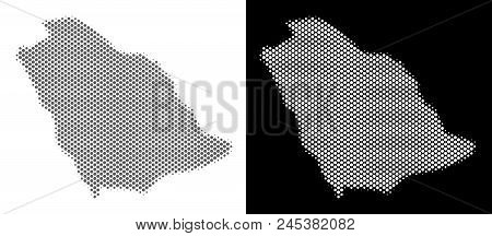 Halftone Circle Blot Saudi Arabia Map. Vector Geographic Maps In Gray And White Colors On White And