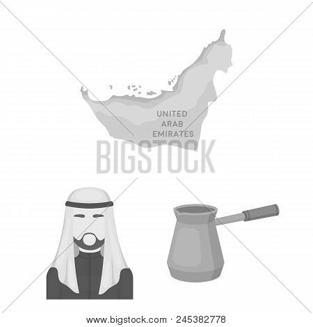 Country United Arab Emirates Monochrome Icons In Set Collection For Design. Tourism And Attraction V
