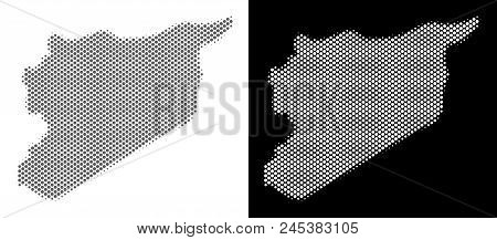 Halftone Round Blot Syria Map. Vector Territory Maps In Gray And White Colors On White And Black Bac