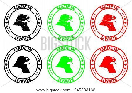 Made In Kuwait - Rubber Stamp - Vector, Kuwait Map Pattern - Black, Green And Red