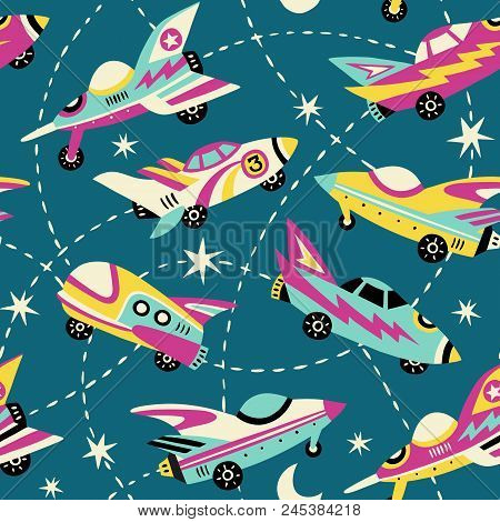 Vintage Space Cars Seamless Vector Pattern On Dark Blue Background. Cute Hand Drawn Cars, Rockets, S