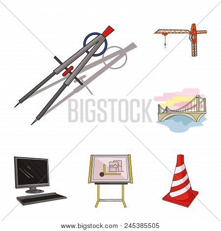 Architecture And Construction Cartoon Icons In Set Collection For Design. Architect And Equipment Ve