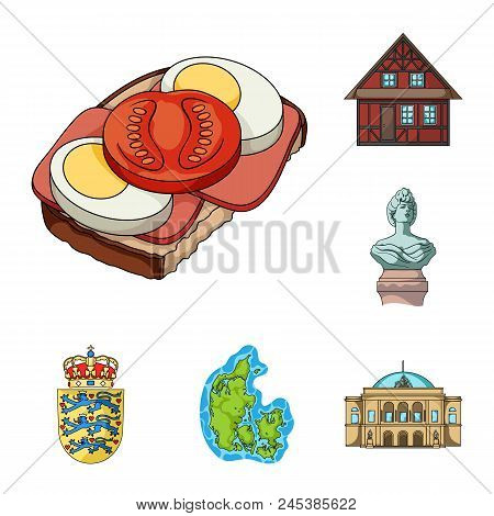 Traveling In Denmark Cartoon Icons In Set Collection For Design. Denmark And Attractions Vector Symb