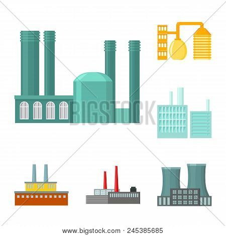 Factory And Facilities Cartoon Icons In Set Collection For Design. Factory And Equipment Vector Symb