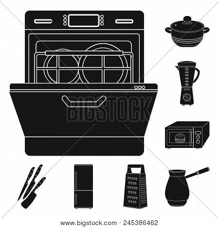 Kitchen Equipment Black Icons In Set Collection For Design. Kitchen And Accessories Vector Symbol St