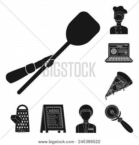 Pizza And Pizzeria Black Icons In Set Collection For Design. Staff And Equipment Vector Symbol Stock
